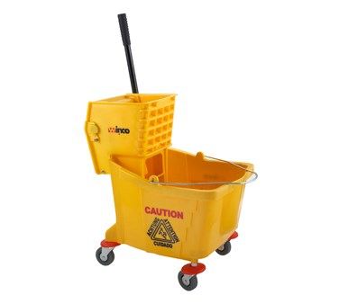WINCO 36 QUART YELLOW MOP BUCKET WITH WRINGER