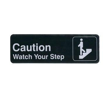 "WINCO 3"" X 9"" SIGN (CAUTION/WATCH YOUR STEP)"