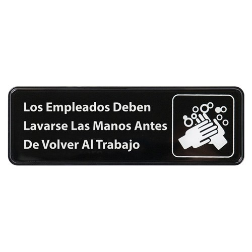 "WINCO SPANISH 3"" X 9"" SIGN (EMPLOYEES MUST WASH HANDS)"
