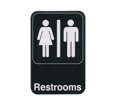 "WINCO 6"" X 9"" SIGN (RESTROOMS)"