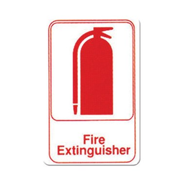 "WINCO 6"" X 9"" SIGN (FIRE EXTINGUISHER), WHITE"