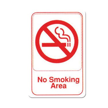 "WINCO 6"" X 9"" SIGN (NO SMOKING AREA), WHITE"
