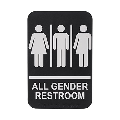 "WINCO BRAILLE 6"" X 9"" SIGN (ALL GENDER RESTROOM)"