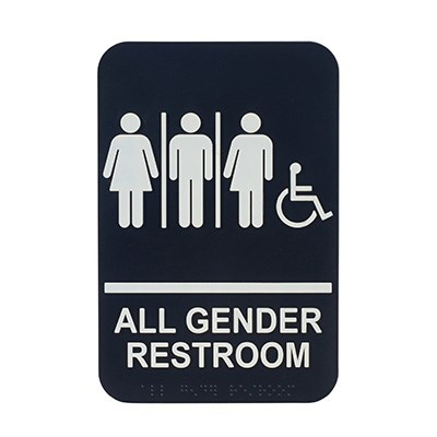 "WINCO BRAILLE 6"" X 9"" SIGN (ALL GENDER RESTROOM WITH"