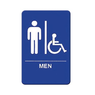 "WINCO BRAILLE 6"" X 9"" SIGN (MEN/ACCESSIBLE), BLUE"